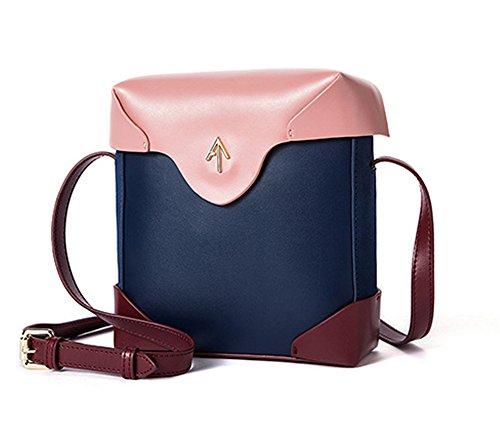 Otoño e Invierno XinMaoYuan Hit Bolsa cuadrada pequeña flecha sencilla bolsa de hombro Retro Diagonal bolsos de cuero Blue