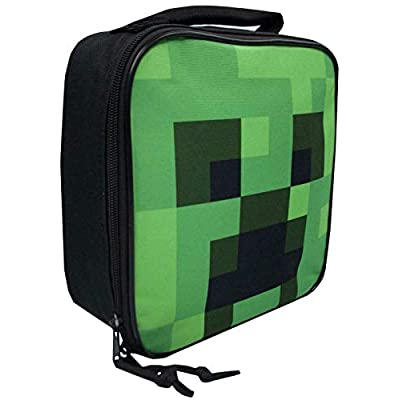 Minecraft Creeper Face Kids/Boys Lunch Box School Food Container Children's Bag: Toys & Games