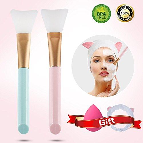 Face Mask Brush - 2 pcs silicone face mask brush - Mask face Beauty Tool,soft Silicone facial brush and shower headband, makeup sponge for Applying Facial mask, Eye Mask, Peel, Serum or DIY Needs