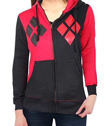Miracle(Tm) Harley Quinn Costume Hoodie - 100% Cotton Zip Up Women's Hoodie (Medium) -