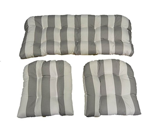 (3 Piece Wicker Cushion Set - Gray / Grey and White Stripe Indoor / Outdoor Fabric Cushion for Wicker Loveseat Settee & 2 Matching Chair Cushions)