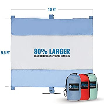Mega Sand Proof Beach Blanket – XXL Oversized Blanket 80 Larger than other Travel Picnic Blankets. Huge 10 x 9.5 Family Size fits 7 Adults. Perfect for Hiking, Camping and Festivals