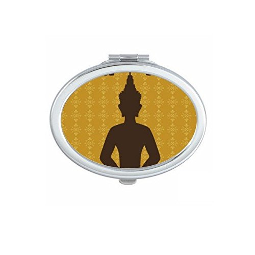 Kingdom of Thailand Thai Traditional Customs Culture Buddhism Buddha Statue Art Illustration Oval Compact Makeup Pocket Mirror Portable Cute Small Hand Mirrors by DIYthinker