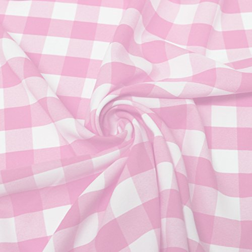 Big Checkered Gingham Poplin Woven Fabric (Pink)