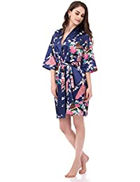 Women's Printing Peacock Kimono Robe Short Sleeve Silk Bridal Robe