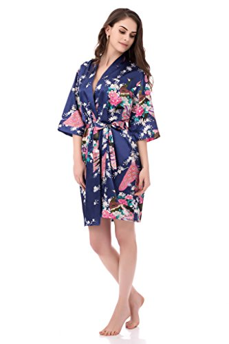 gusuqing Women's Printing Peacock Kimono Robe Short Sleeve Silk Bridal Robe Navy L -