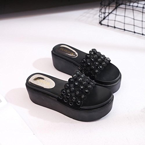 éPais Femmes Swimming Femmes Printemps Chaussures Sandales Les Mode zycShang Chaussons Flatform Bas Chaussures Couleur Noir Mode Crystal Femmes qYInZn8E7