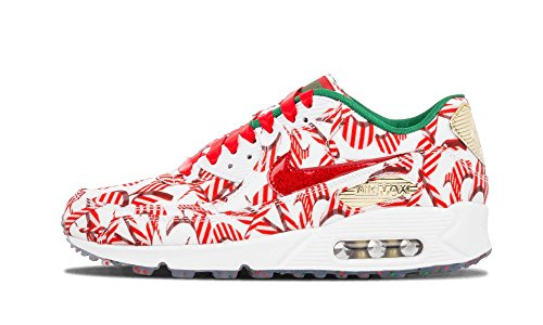 Nike Womens Wmns Air Max 90 Qs, Christmas Pack-wit / Universiteit Rood-metallic Goud, 8 Us