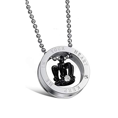 Metal Color: for Men Davitu Fashion Jewelry Christmas Gift Stainless Steel Crystal Crown Pendant Necklace