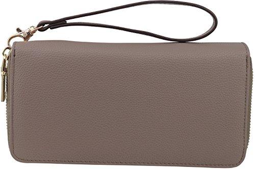 - B BRENTANO Vegan Double-Zipper Wallet Clutch with Removable Wrist Strap (Stone)