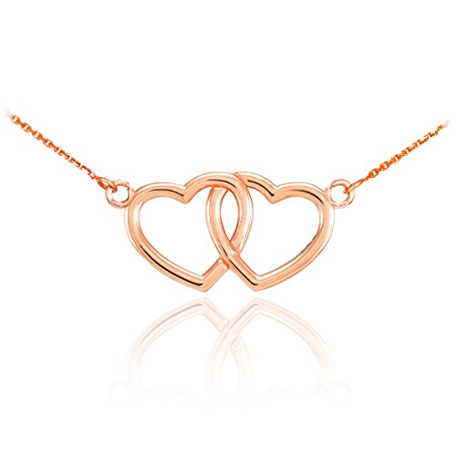 14k Rose Gold Double Open Heart Necklace, 16