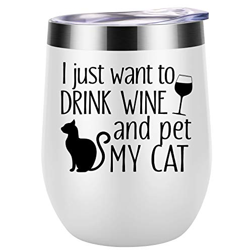 I Just Want To Drink Wine and Pet My Cat - Cat Gifts for Women - Novelty Cat Themed Birthday Gifts for Cat Lovers, Cat Mom, Cat Lady, Cat Owner, Best Friend, Mother, Wife, her - Coolife Wine Tumbler (Glasses Kitten)