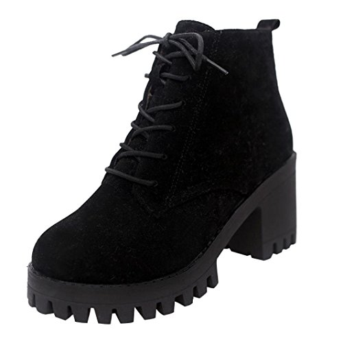 Noir Cuir Bottes Lacets Bout Chaussures Anti Fami Rond Femme Martin vwqgaxnwA