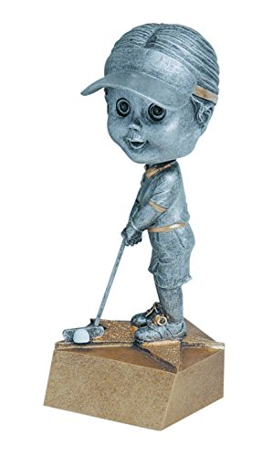 (Decade Awards Golf Bobblehead Trophy - Female | Ladies Golf Award | 6 Inch Tall - Free Engraved Plate on Request)