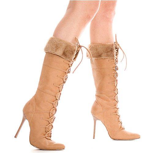 Chaussures 4 Pouces Talon Genou Haute Botte Avec De La Fourrure (havane; 6)