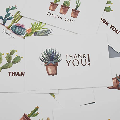 Thank You Cards 36 Bulk Blank Folded Watercolor Cactus Thank You Notes With Self Seal Envelopes - 6 Design, 4 x 6 inch - Perfect for Wedding, Bridal Party, Baby Shower, Graduation,Business,Friends Photo #5