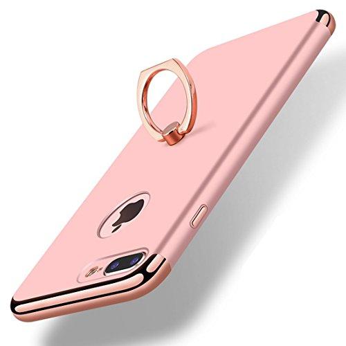 Coque iPhone 8 Plus, iPhone X Case Vanki? Ultra Mince Lgre Premium Matte Surface Lisse pour iPhone 8 Case avec Rotatif Bague Support Or Rose