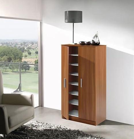 Mueble armario zapatero economico con 7 estantes color CEREZO