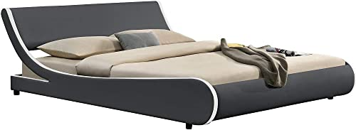 Allewie Modern Low Profile Wave Like King Size Platform Bed Frame