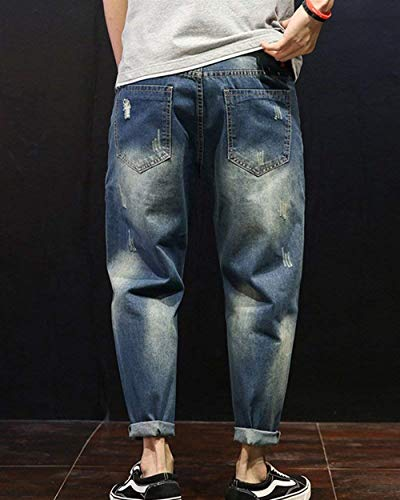 Uomo Allentati Destrutturati Denim Fit Estilo Blau Especial Jeans Slim Vintage Da Pantaloni Stretch Harem wESEpfq