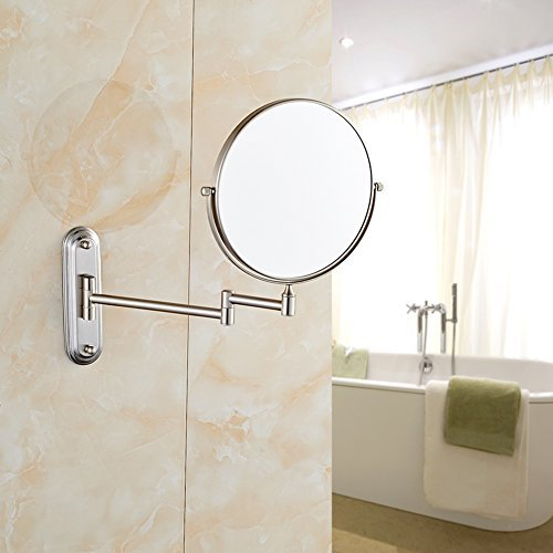 GURUN Wall Mount Magnifying Mirror Brushed Nickel Finish with 7x Magnification,8-Inch Two-Sided Swivel M1206N(8in,7x)