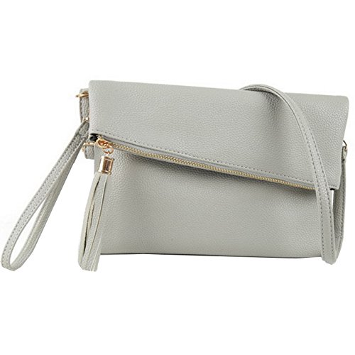 Black Light Bag Pu Leather Women LA Foldover Tassel Crossbody Handbag grey Evening Wristlet Purse HAUTE Envelope Clutch BqxZA6f