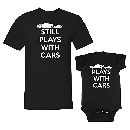 We Match! Plays with Cars & Still Plays with Cars Matching Adult T-Shirt & Baby Bodysuit Set (24M Bodysuit, Adult T-Shirt XL, Black)