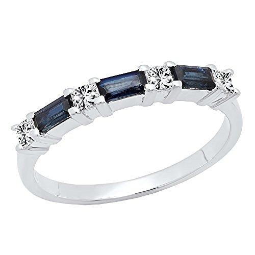 DazzlingRock Collection 10K White Gold 4X2 MM Baguette Cut Blue Sapphire & Princess Cut Diamond Wedding Band (Size 5.5)