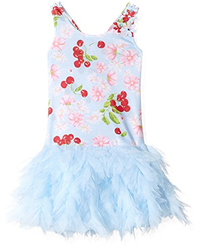 Kate Mack Big Girls' Cherries Jubilee Dress with Netting Skirt, Blue, 8 - Kate Mack Girls Clothing