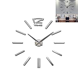 Meflying 3D DIY Wall Clock, Modern Frameless Large Wall Clock Mirror Sticker for Home Office Decor (Silver)