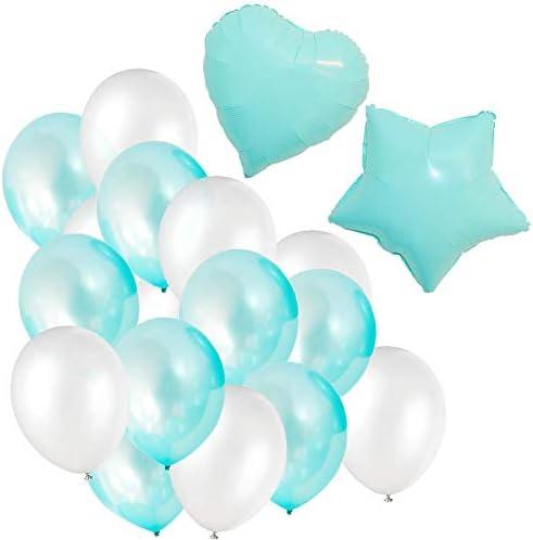 【Lopity】 ティファニーブルー アルミ ラテックス バルーン ミックス セット ホイル 風船 インスタ映え 誕生日 飾り付け 飾り 紙吹雪 結婚式 パーティー