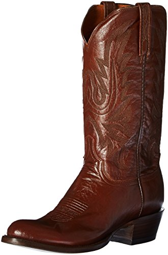 Image of Lucchese Bootmaker Men's Carson-ant Bn Lonestar Calf Cowboy Riding Boot, Antique Brown, 10.5 D US