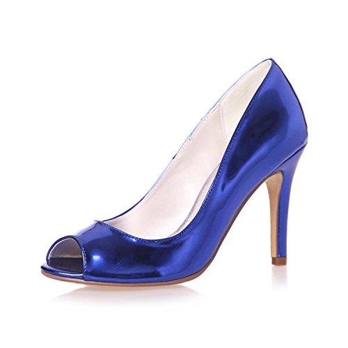 Plataforma Sintético Boda yc 14 Del Mujeres Raso L Tacones Cuero Banquete De Punta Blue 5623 Zapatos Peeking Las xg8vxXfw