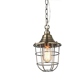 LNC 1-Light Caged Pendant Lighting Champagne Pendant Lights Nautical Ceiling Lamps