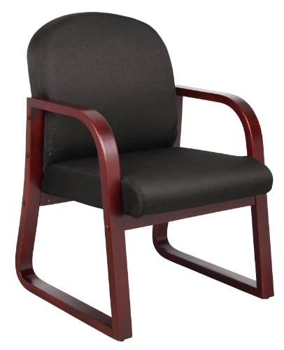 Boss Office Products B9570-BK Mahogany Frame Fabric Side Chair in Black -