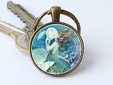Amazon.com: Llavero con imagen de sirena, diseño de sirena ...