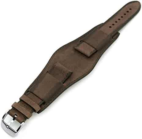 abb93056359 22mm Italian Handmade Bund Military Style Double-Layer Watch Strap