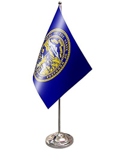 Nebraska US State Satin and Chrome Office Desk Table Flag