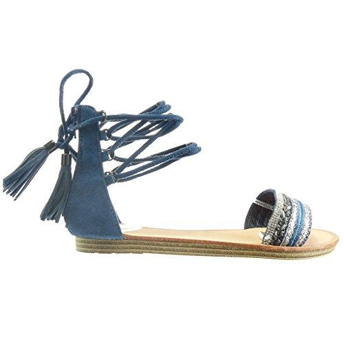 Pom Cm Angkorly Chaussure Femme pom Mode Talon Plat Sandale Diamant Strass Spartiates Frange Bleu 1 wxYSRqOx