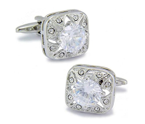 LBFEEL Big White Crystal Cufflinks for Men in Square Shape with a Gift - Square In Shape