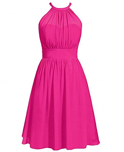 6ba65b42ac4 Botong Women s Fuchsia Halter Bridesmaid Dresses Chiffon Graduation Dress  Fuchsia US2