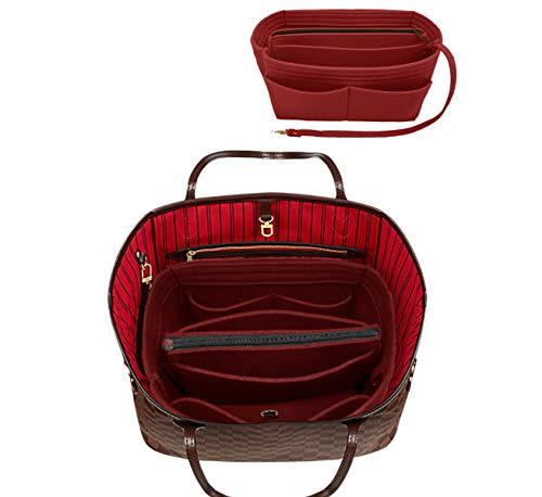 LEXSION Felt Purse Insert Handbag Organizer Bag in Bag Organizer with Handles Holder 8021 Vine Red L ()