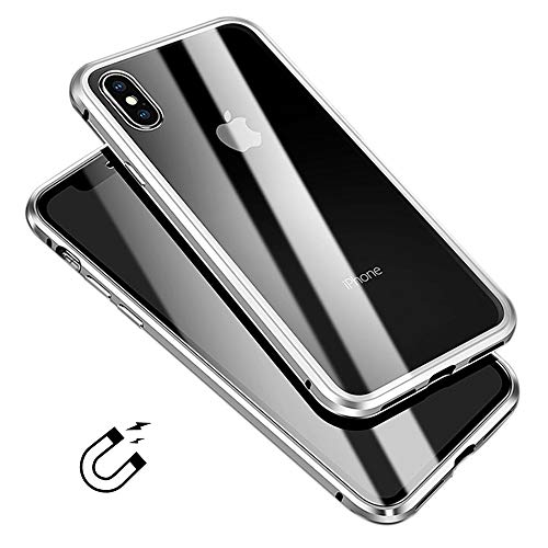 - Glass iPhone X XS Case, LIGHTDESIRE Slim Bumper Aluminium [Magnetic Adsorption Installation] Metal Case Tempered Creen Cover Full Body for iPhone X/XS (Silver)