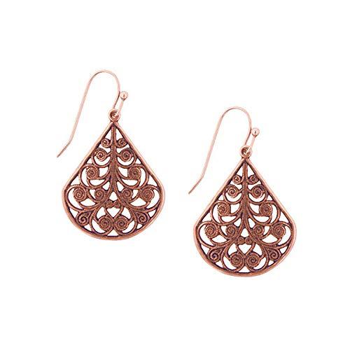 1928 Jewelry Rose Gold-Tone Vine Filigree Earrings
