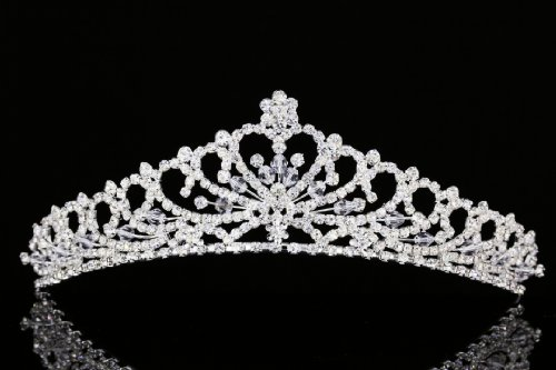 Flower Heart Pattern Rhinestone Crystal Bridal Tiara Crown T931