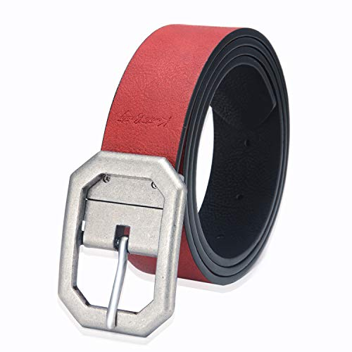 (Black Women Formal Designer Reversible Leather Dress Belt for Jeans with Rectangle Rotated Buckle New Men Belt(Red,L))
