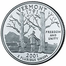 2001 D Vermont State Quarter Choice Uncirculated