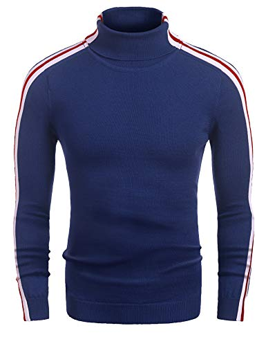 Sweater Mens 1970s (COOFANDY Mens Casual Slim Fit Stripe Ribbed Knit Pullover Turtleneck Sweater(Blue 2,XXL))