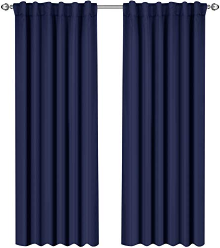 Loop Panels Side - Utopia Bedding Blackout Room Darkening and Thermal Insulating Window Curtains/Panels/Drapes - 2 Panels Set - 7 Back Loops per Panel - 2 Tie Backs Included (Navy, 52 x 84)