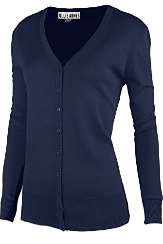 Ollie Arnes Womens Basic Chic Long Sleeve Solid Button up V-Neck Knit Cardigan